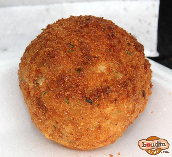 A crispy and delicious fried boudin ball